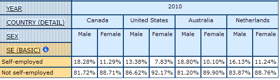 table displaying the percentage of Self-employed for Men and Women in Canada, United States, Australia, and Netherlands