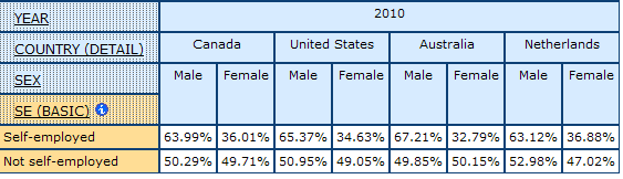 table displaying the percentage of men and women by Self-employment in Canada, United States, Australia, and Netherlands