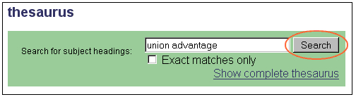 example of searching the term union advantage on the thesarurus search page