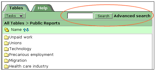 example of searching for relevant statistical tables using thesaurus key terms