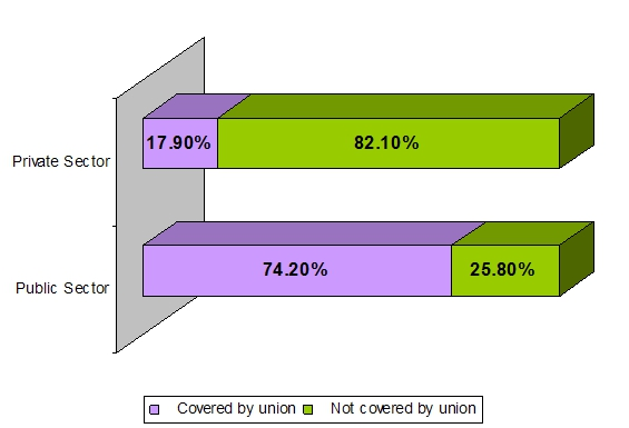 stacked bar graph displaying the percentage of Union Density by Sector