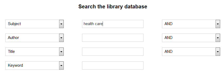 example of how to conduct a basic keyword search of the library resource using health care as the subject