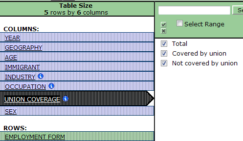 example of selecting and deselecting items for table view