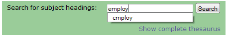 example of searching the thesaurus using keywords