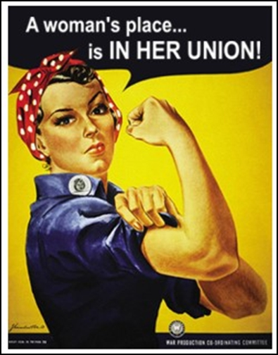 image of Rosie the Riveter aimed at women in the World War II war effort