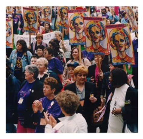 image of CAW Women at the March Against Poverty, 2000, Vancouver BC