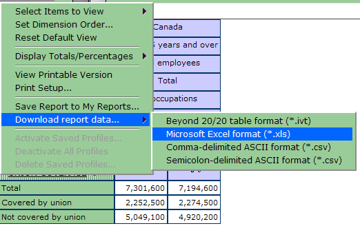 example of downloading statistical data into excel to perform custom calculations